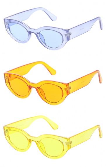 Womens Retro Transparent Color Flat Lens Cat Eye Wholesale Sunglasses