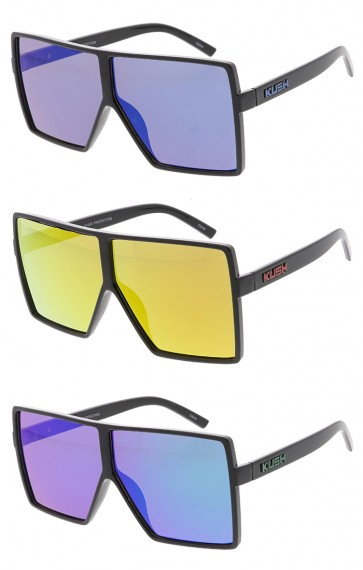 KUSH Oversized Square Mirror Lens Wholesale Sunglasses