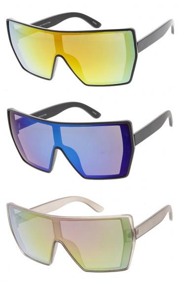 Oversized Plastic Mono Lens Mirror Wholesale Sunglasses