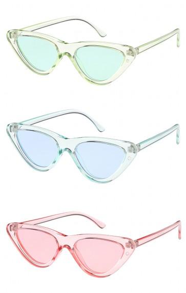 Women's Retro 1990's Narrow Flat Color Tone Lens Cat Eye Wholesale Sunglasses