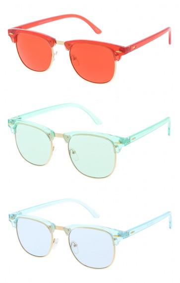 Retro Horn Rim Transparent Color Lens Wholesale Sunglasses