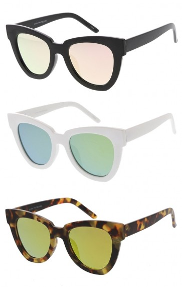 Oversized Chunky Square Horn Rimmed Mirror Lens Womens Wholesale Sunglasses