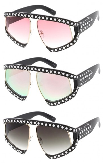 Rhinestone Chunky Oversize Square Lens Wholesale Sunglasses