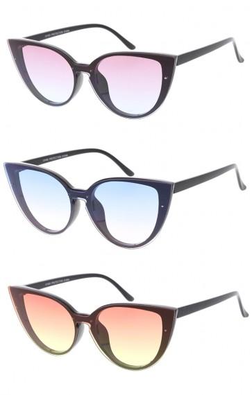 Womens Fashion One Piece Color Lens Cat Eye Wholesale Sunglasses