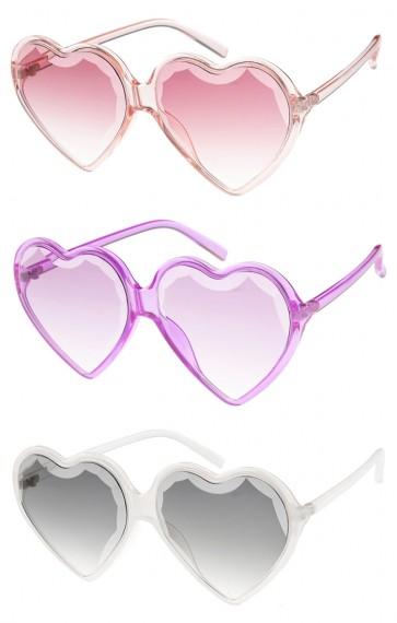 Women's Oversize Translucent Heart Gradient Lens Wholesale Sunglasses