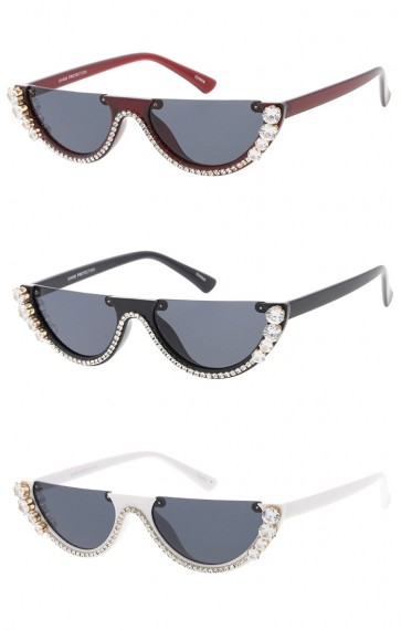 Women's Retro Rhinestone Half Frame Flat Cut Wholesale Sunglasses