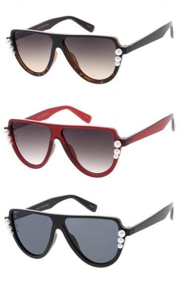Womens Pearl Frame Flat Top Wholesale Sunglasses