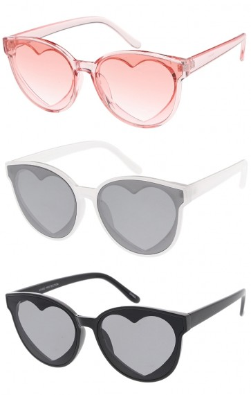 Round Horn Rimmed Heart Cutout Lens Womens Wholesale Sunglasses
