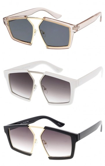 Oversize Horn Rimmed Square Neutral Colored Lens Wholesale Sunglasses