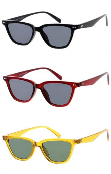 Women's Horn Rimmed Cat Eye Neutral Colored Flat Lens Wholesale Sunglasses
