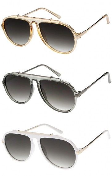 Men's Metal Arms Aviator Neutral Colored Lens Wholesale Sunglasses