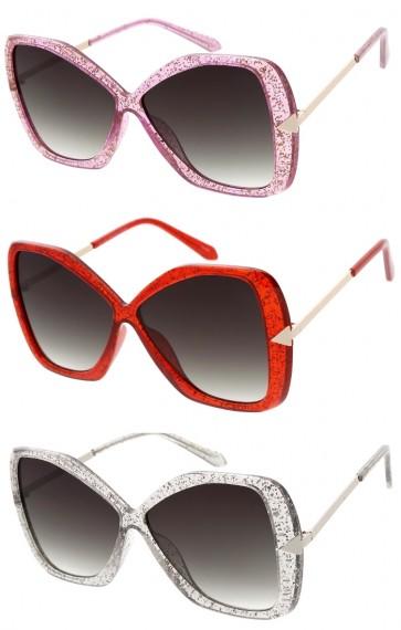 Women's Oversize Butterfly Glitter Frame Neutral Colored Lens Wholesale Sunglasses