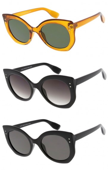 Women's Oversize Chunky Cat Eye Round Neutral Colored Lens Wholesale Sunglasses