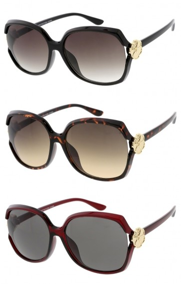 Women's Floral Accent Oversize Neutral Colored Lens Wholesale Sunglasses
