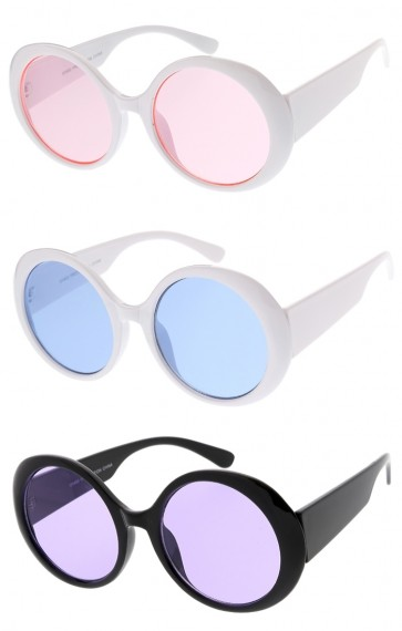 Women's Wide Arms Oversize Round Colored Tinted Lens Wholesale Sunglasses