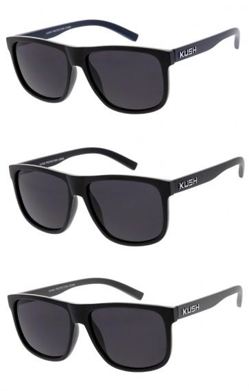 Men's KUSH Matte Horn Rimmed Colored Arm Square Lens Wholesale Sunglasses