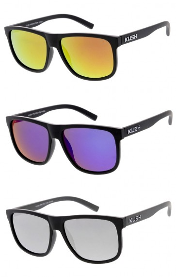Men's KUSH Matte Horn Rimmed Square Mirrored Lens Wholesale Sunglasses