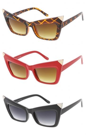 Womens Metal Point Cat Eye Sunglasses