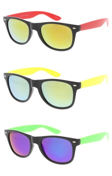Mirror Lens Neon Arms Horn Rimmed Wholesale Sunglasses