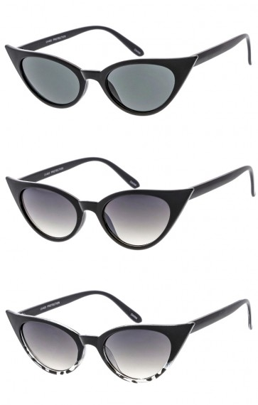 Women's Small Oval Cat Eye Plastic Frame Wholesale Sunglasses