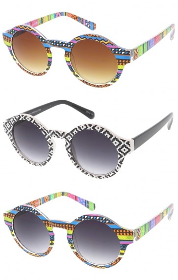 Womens Funky Print Round Wholesale Sunglasses