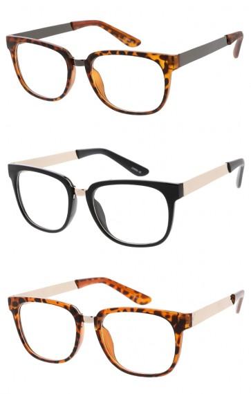 Unisex Metal Bridge Horn Rimmed Square Clear Lens Wholesale Glasses