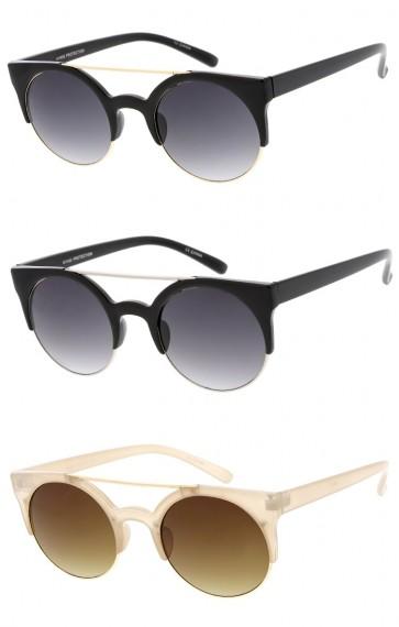 Women's Semi Rimless Cat Eye Round Lens Wholesale Sunglasses
