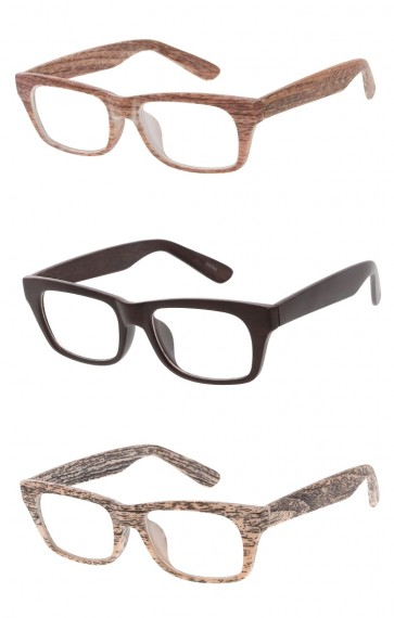 Unisex Wood Printed Horn Rimmed Rectangle Clear Lens Wholesale Glasses