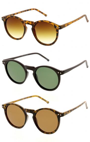 Dapper Key Hole Vintage Horned Rim Round Circle Indie Wholesale Sunglasses