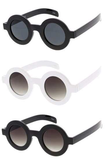 Retro Fashion Bold Frame Horned Rim Round Circle Wholesale Sunglasses