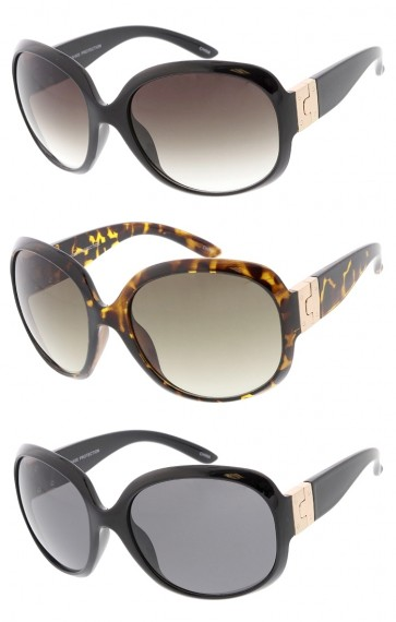 Women's Plastic Large Rounded Square Frame w/ Metal Buckle Accent Hinge Wholesale Sunglasses
