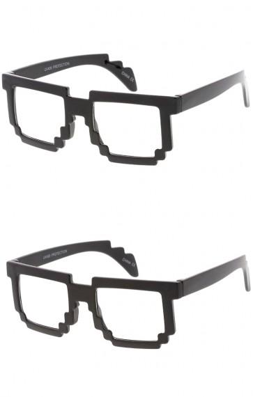 Kids Pixel Horn Rimmed Wholesale Clear Lens Glasses