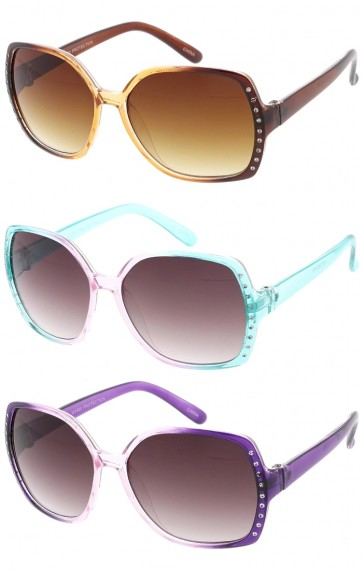 Kids Oversized Fashion with Diamonds Wholesale Sunglasses