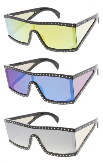 Oversized Fashion Flat Top Mirror Lens Womens Wholesale Sunglasses