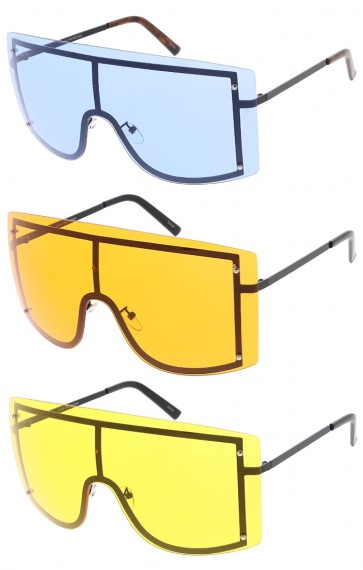 Large Oversized One Piece Shield Color Lens Wholesale Sunglasses