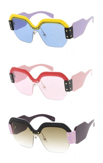 Oversized Fashion Chunky Half Frame Womens Wholesale Sunglasses