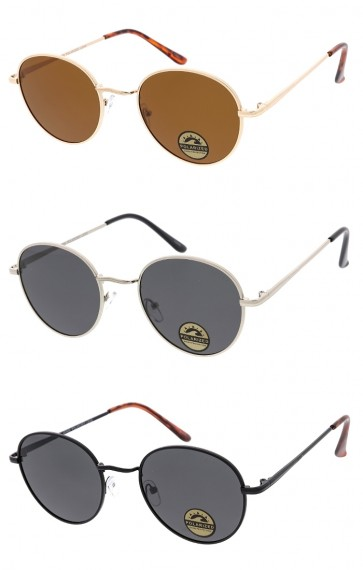 Polarized Unisex Small Round Metal Frame Classic Wholesale Sunglasses