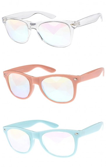 Novelty Glass Kaleidoscope Prism Lens Horned Rim Wholesale Sunglasses