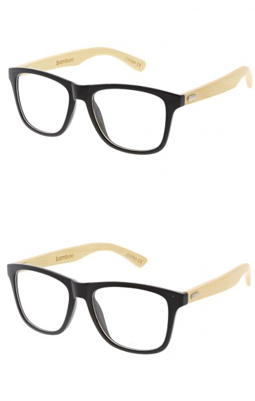 Indie Bamboo Wood Horned Rim Clear Lens Wholesale Sunglasses