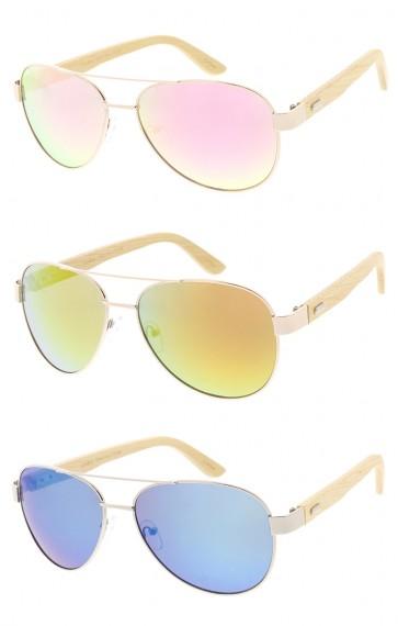 Large Mirror Lens Aviators Wood Arms Wholesale Sunglasses