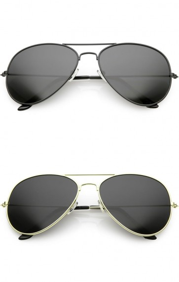 Large Classic Metal Frame Aviator Super Dark Lens Wholesale Sunglasses