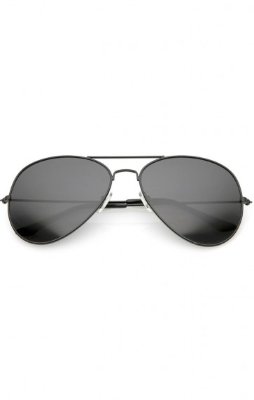 Large Classic Metal Frame Aviator Super Dark Lens Wholesale Sunglasses