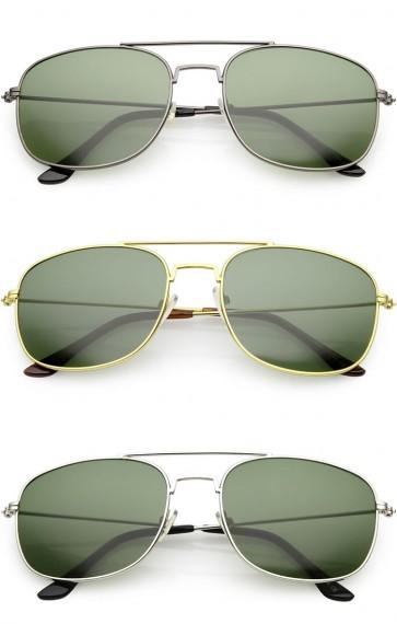 Retro Metal Square Aviator Green Tinted Glass Lens Wholesale Sunglasses