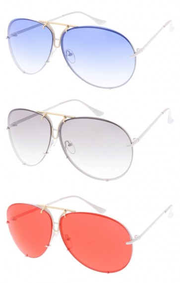 Oversize White Aviator Color Tinted Lens Wholesale Sunglasses