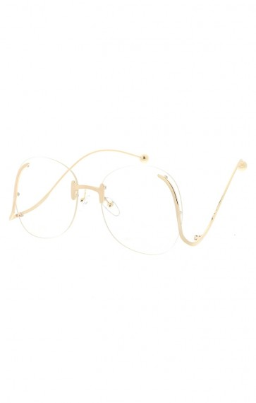 Women's Oversize Round Rimless Clear Lens Curved Arms Wholesale Sunglasses
