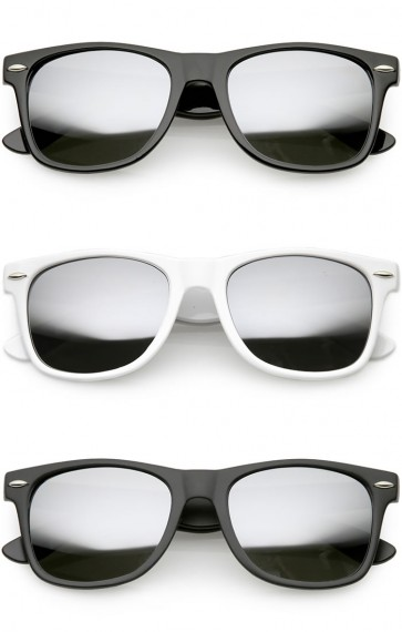Classic Horn Rimmed Mirrored Lens Wholesale Sunglasses
