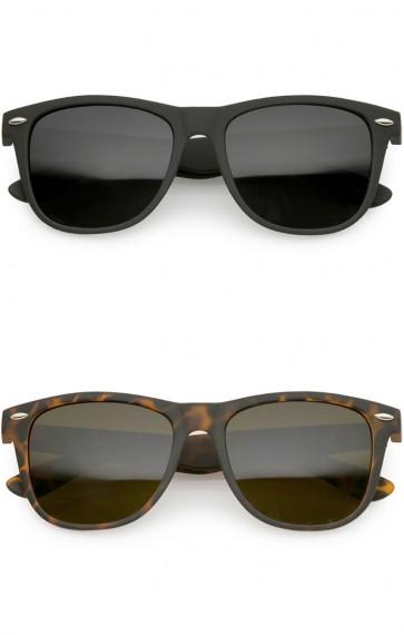 Classic Horn Rimmed Rubberized Matte Frame Super Dark Lens Wholesale Sunglasses