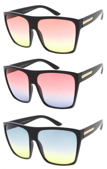 Oversize Flat Top Square Wholesale Sunglasses Color Tinted Gradient Lens
