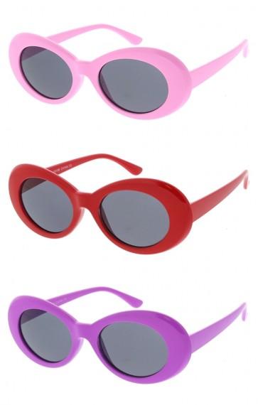 Retro 90's Fashion Thick Oval Round Wholesale Sunglasses