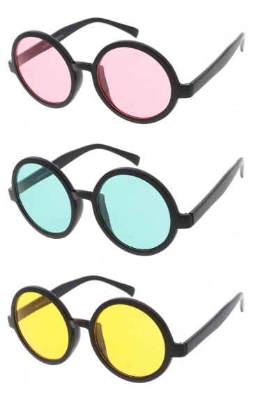 Women's Oversize Thick Round Frame Color Tinted Lens Wholesale Sunglasses